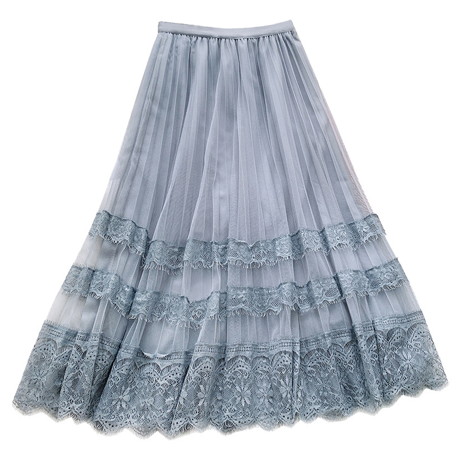 Spring Summer Long Skirt Women Clothing 2020 New Flower Embroidered Lace Mesh Skirts Sweet Pleated Tulle Skirt Faldas Saias