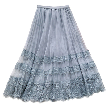 Spring Summer Long Skirt Women Clothing 2020 New Flower Embroidered Lace Mesh Skirts Sweet Pleated Tulle Skirt Faldas Saias flower embroidered mesh shoulder top