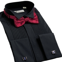 DEEPOCEAN Men's Long Sleeve Shirt Wing Collar Shirt Cufflink Bow Tie