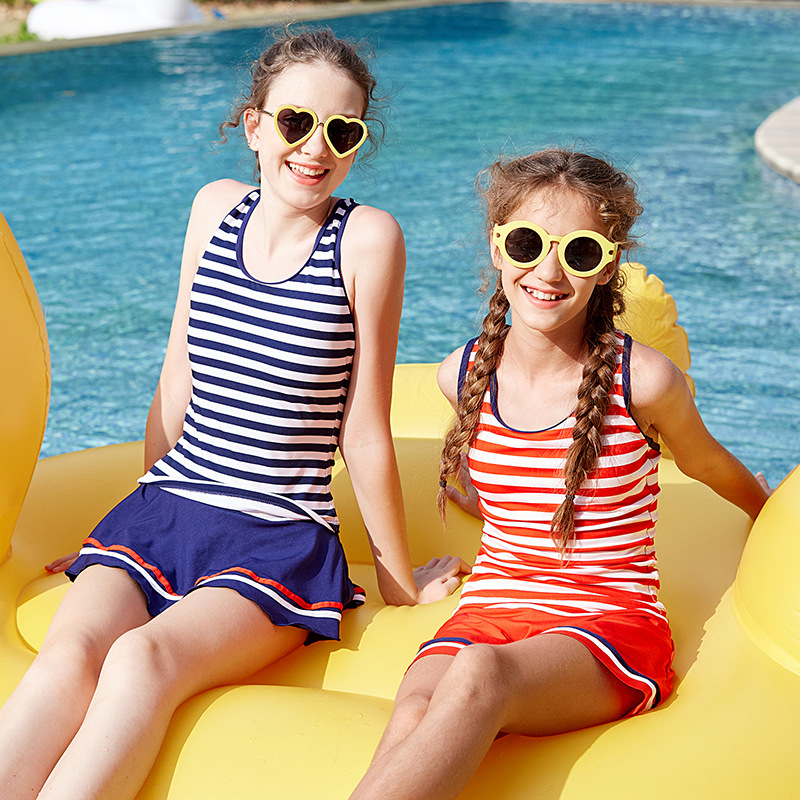 2018 New Style Stripes Split Type KID'S Swimwear Sports Vest Beach GIRL'S Swimwear Manufacturers Direct Selling Foreign Trade