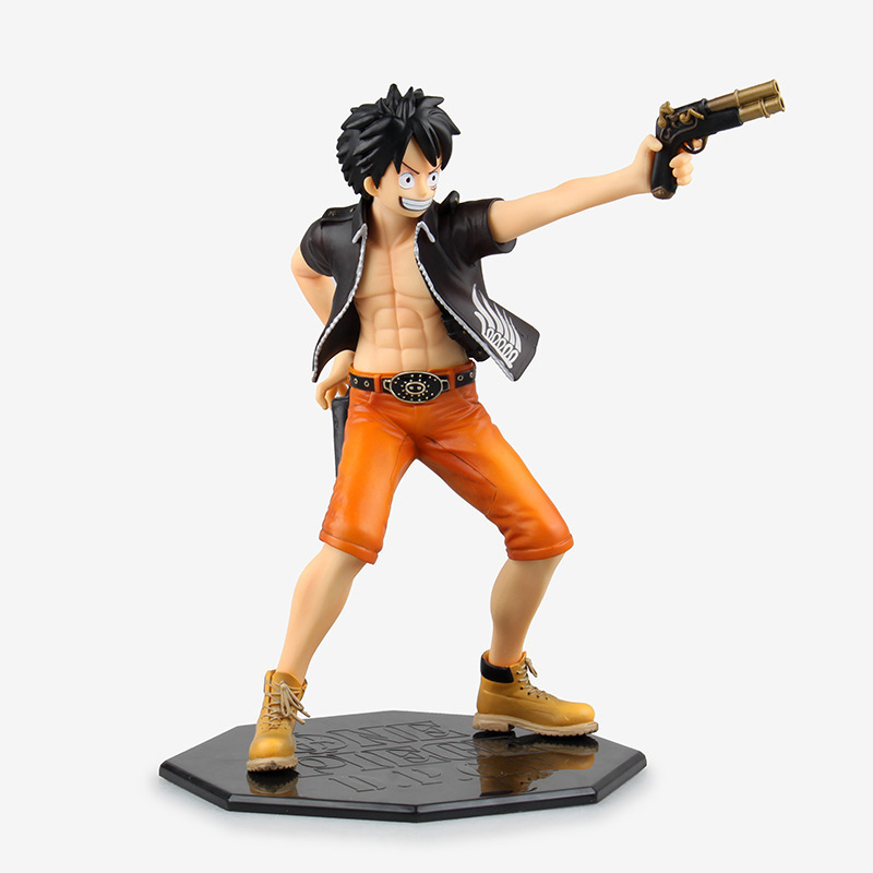 22cm Anime Action Figure ONE PIECE D.P.C.F Monkey D. Luffy <font><b>Gun</b></font> The Three Musketeers Ver. 1/7 <font><b>Scale</b></font> PVC Collection Model Toys New image