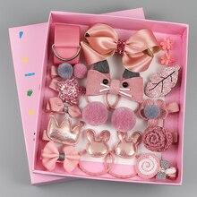 18 piezas de clip de pelo set accesorios bonitos para el pelo sombreros de niña arco flor horquillas animales banda de pelo de dibujos animados tocado elástico regalo