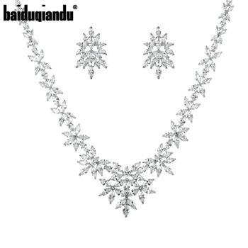 Baiduqiandu marca rodio plateado Marquesa corte zirconia cúbica nupcial collar de boda y conjunto de joyas de pendientes
