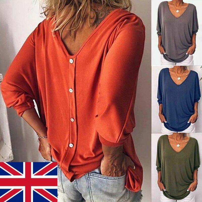 2019 Brand New Style  Fashion Plus Size Women Loose Casual Tee Tunic Tops Ladies Baggy Solid  T-Shirt Button Hot Sale