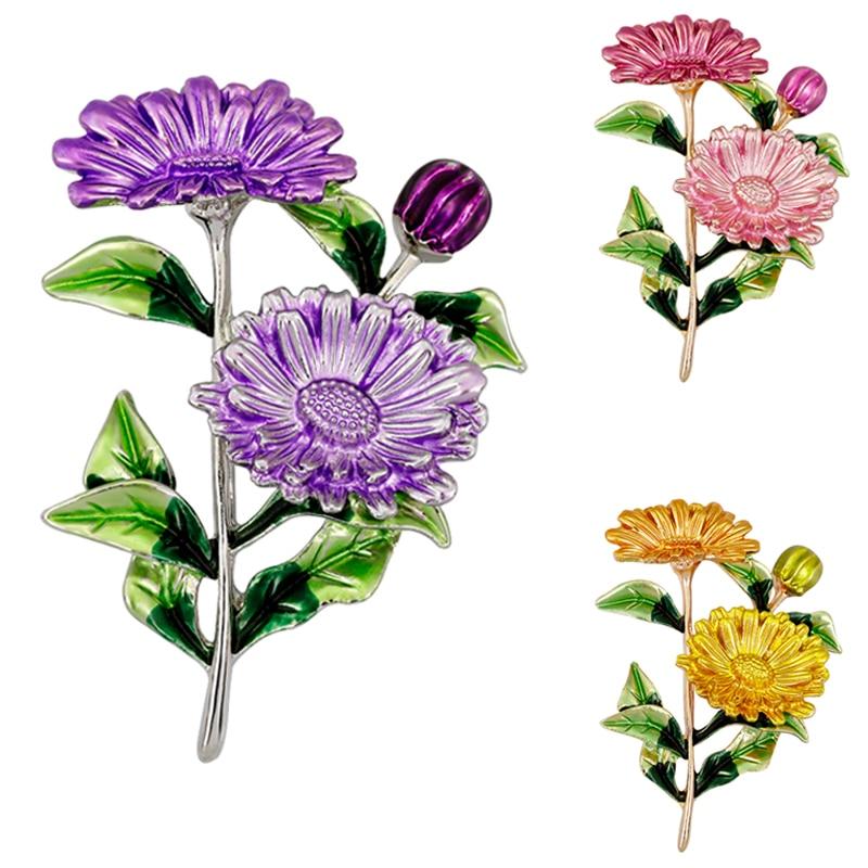 Enamel Yellow Purple Pink Chrysanthemum Flower Brooch Green Leaf Sunflower Brooches Jewelry Plant Corsage pins