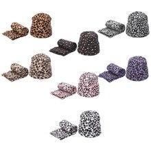 Scarf-Set Hat Beanie Winter Women Warm Wool Leopard 2pcs Hedging-Caps Spots Printing