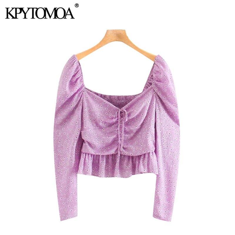 KPYTOMOA Women 2020 Sweet Fashion Printed With Bow Cropped Blouses Vintage Long Sleeve Back Elastic Female Shirts Chic Tops