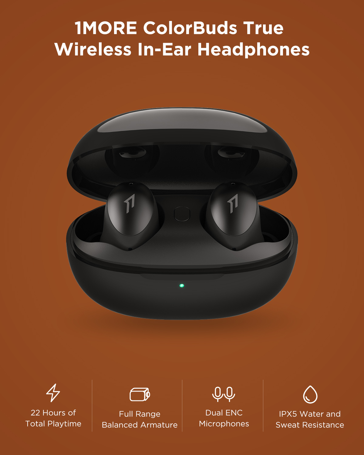 1MORE ColorBuds ESS6001T TWS Fast Charging Bluetooth Wireless In-Ear Earphone Support APTX AAC With MIC+Charging Box For Phones