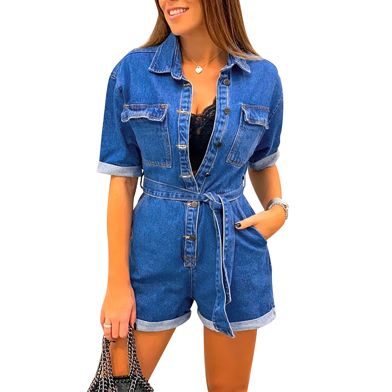 Fashion Women Denim Playsuits Sexy Lapel Short Sleeve Pocket Belt Short Jumpsuit Chic Ladies Button Jeans   Romper   Summer Overalls