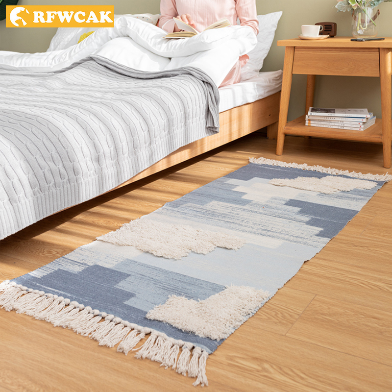 Morocco Style Cotton Tassels Carpets For Living Room Bedroom Kid Room Rugs Home Carpet Floor Door Mat Tapete Para Sala Area Rug