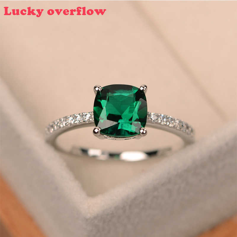 Luckyoverflow Fashion Ring Big Square Sky Blue Stone Rings for Women Jewelry Wedding Engagement Gift Luxury Inlaid Stone Rings