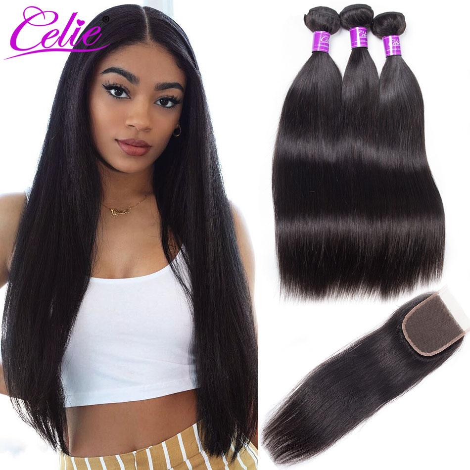 Прямые человеческие волосы Celie, пучки с застежкой, 3 пряди с застежкой, Remy, бразильские прямые пряди волос с застежкой