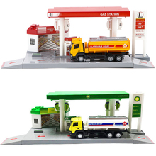 1:64 Simulation BPl Gas Station Pull Back Diecast Car Model France Total UK BP Combination Kid Boy Toy Car Model Set HC0209