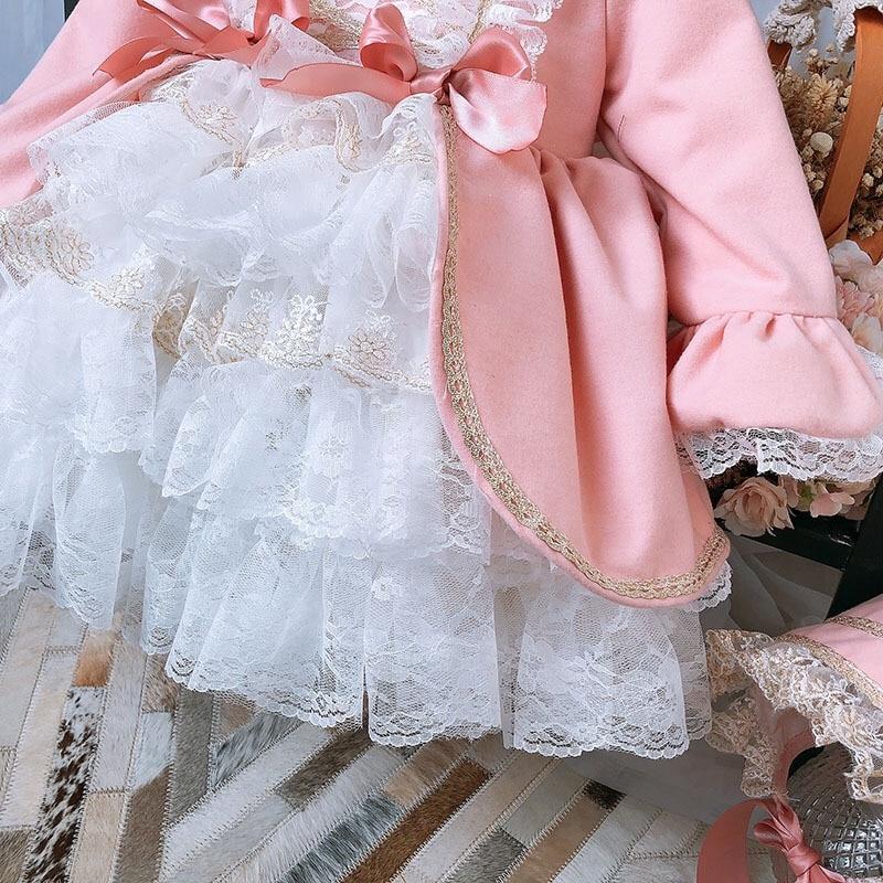 Girl Winter Spring Autumn Wool Pink Long Sleeve Vintage Spanish Lolita Princess Ball Gown Dress for Girl Birthday Eid Casual 2