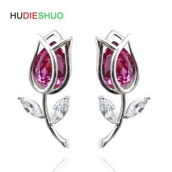 Hudieshuo 925 prata esterlina rosa brincos de cristal vermelho para as mulheres menina bonito prata cz jóias festa presente rosa brincos