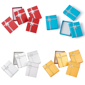 12pcs Necklaces Boxes Pendant Packages Cardboard with Bowknot Outside and Sponge Inside for Necklace Display Valentines Gifts