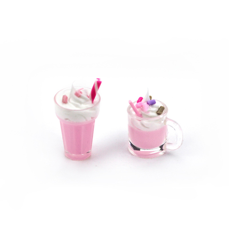 1Pcs 1/12 Dollhouse Miniature Accessories Mini Resin Strawberry Milkshake Cup Simulation Food Model Toys Doll House Decoration