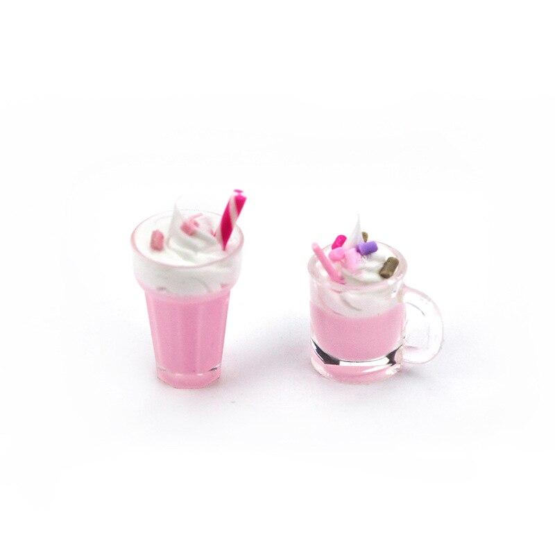1Pcs 1/12 Dollhouse Miniature Accessories Mini Resin Strawberry Milkshake Cup Simulation Food Model Toys Doll House Decoration