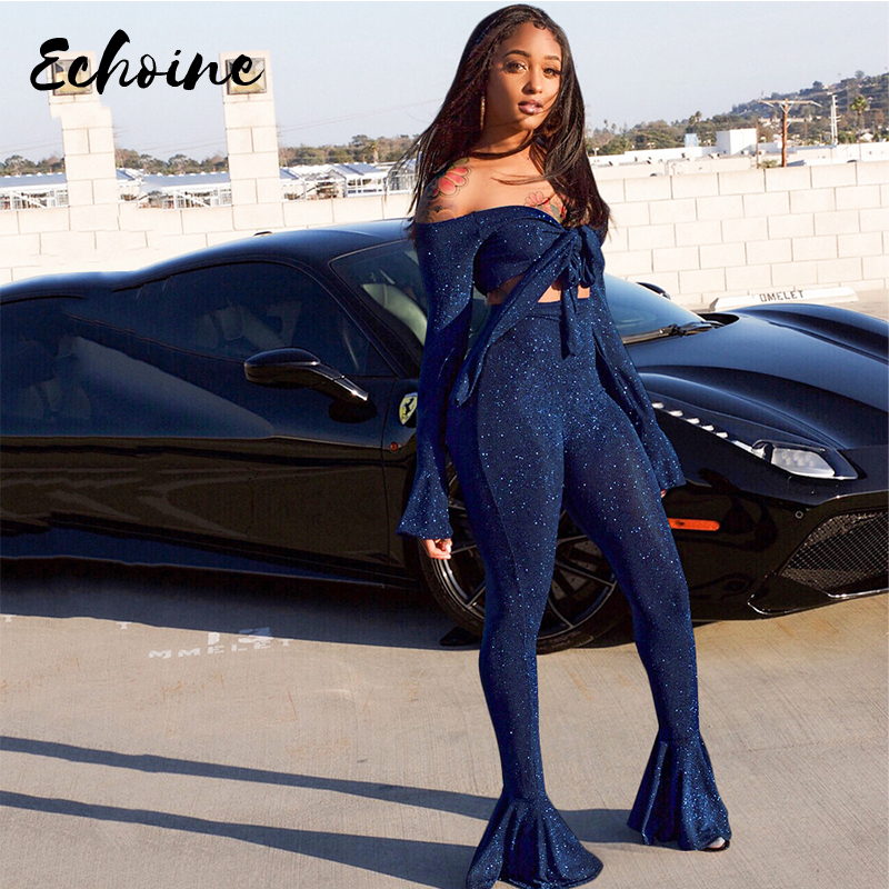 <font><b>Sexy</b></font> Two Piece Set Autumn Outfits Tracksuit Women Strapless Flare Sleeve Ruched Print Flare Pants <font><b>ensemble</b></font> <font><b>femme</b></font> dos piezas S-XL image