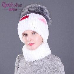 Hand Knit Fox Fur Hats Caps Real Rex Rabbit Fur Warm Winter Hat Scarf Sets