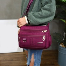 Fashion Korean Female Shoulder Bag Polyester Messenger Waterproof Multi-Pocket Large Capacity Storage