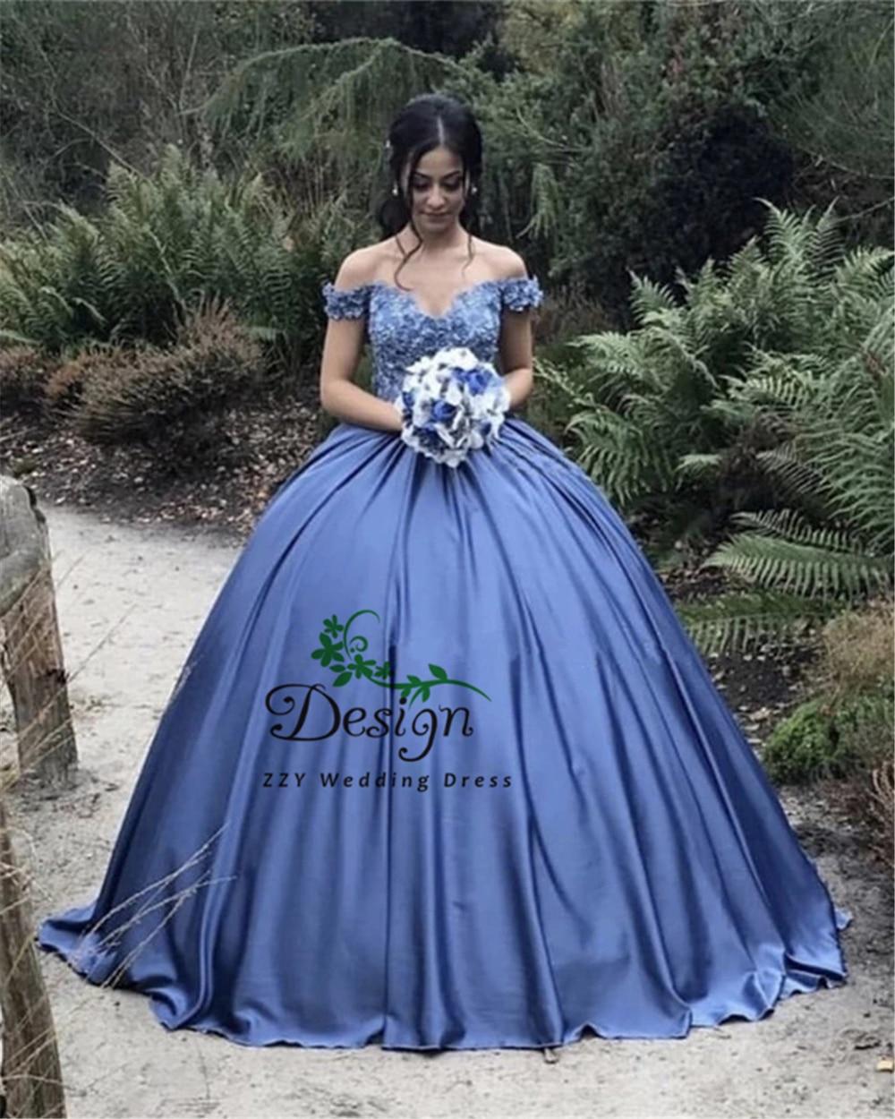 Blue Satin Flowers Appliques Quinceanera Dresses Ball Gown Vestido De 15 Anos 2019 Vestidos De Quinceaneras With Handworks
