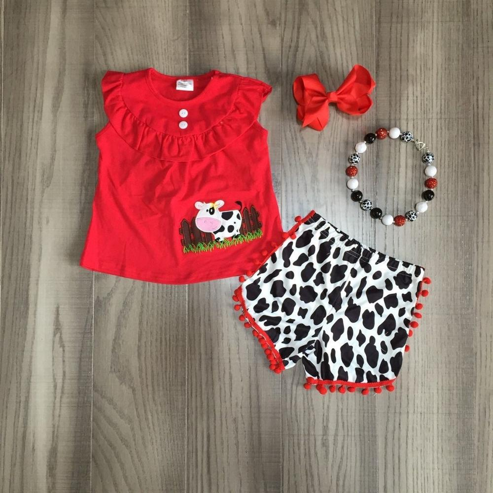 Baby Girls Summer Farm Outfits Milk Cow Print Shorts Red Cow Top Girls Farm Outfits With Accessories