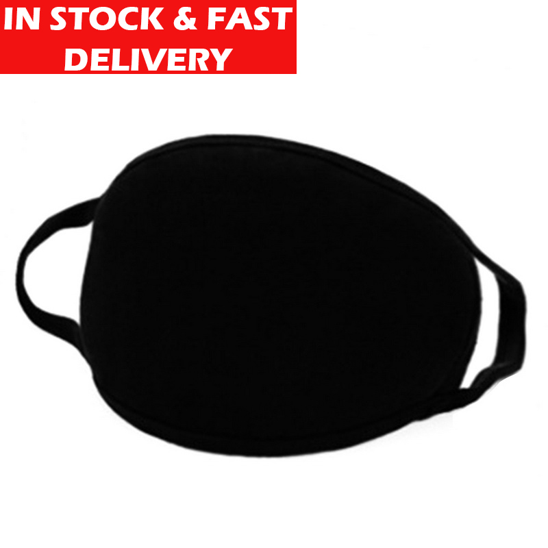 INSTOCK Black Unisex Face Mask Cute Mouth Mask Cotton Fabric Anti Dust Pollution Masks For Man Woman Keep Warm Face Mouth Mask