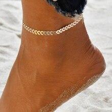 Простой из нержавеющей стали, ножной браслет для Для женщин позволяют Fishbone Форма браслет цепочка на ногу ног, ювелирное изделие, подарок
