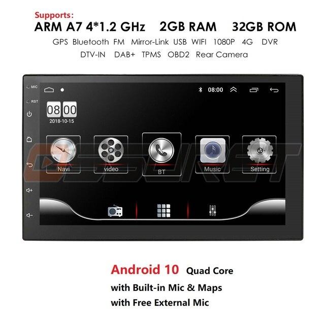 Android 10 2 Din 7นิ้วHD Touch Screenวิทยุรถยนต์เครื่องเล่นวิดีโอมัลติมีเดีย4 Core Universal AutoสเตอริโอGPSแผนที่กระจก2 + 32