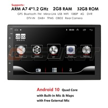 Android 10 2 Din 7 zoll HD Touchscreen Auto radio Multimedia Video Player 4 Core Universal auto Stereo GPS KARTE Spiegel Link 2 + 32