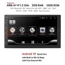 Android 10 2 din 7 polegada hd tela de toque rádio do carro multimídia player de vídeo 4 núcleo universal estéreo gps mapa espelho ligação 2 + 32