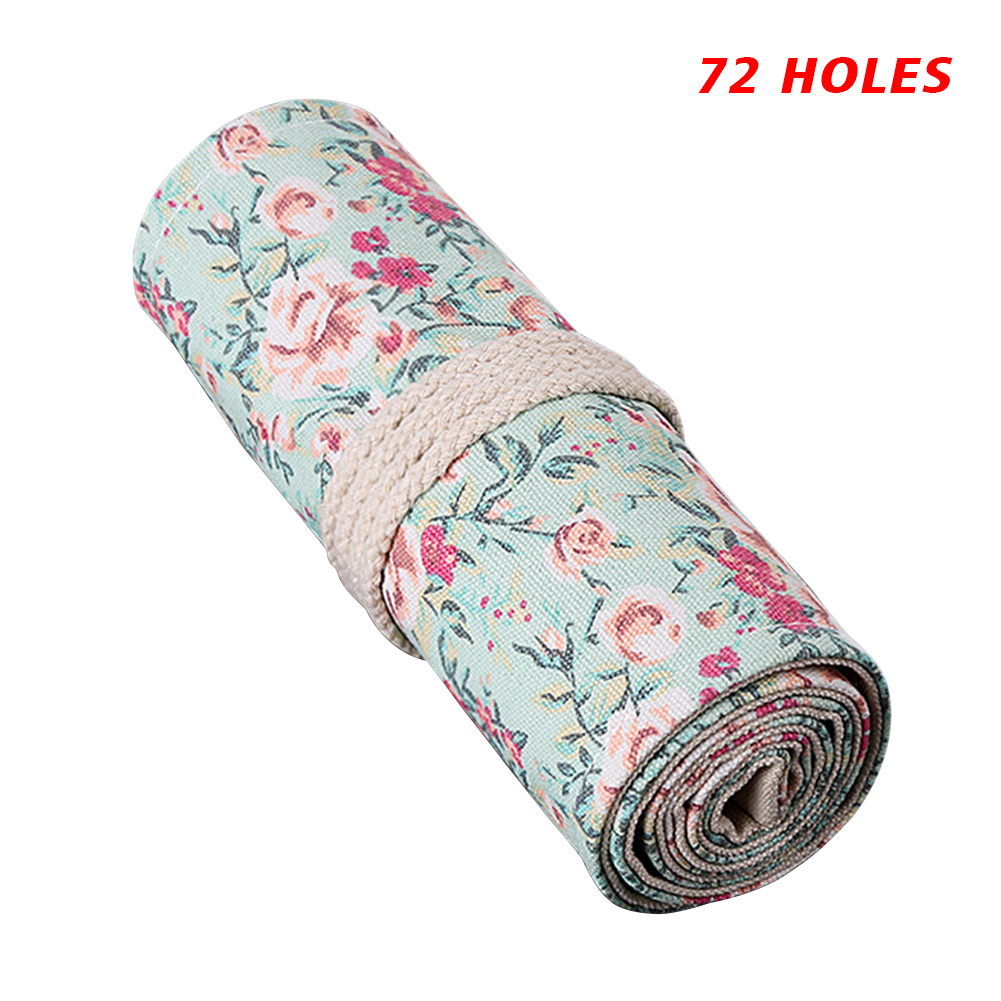 Stationery Pencil Case Storage Pouch Winding School Office Study Multipurpose Sketch Supplies Flower Print Wrap Holder Roll Up