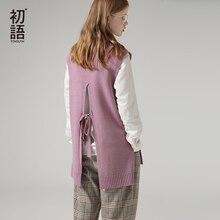 Toyouth suéteres de Bandage de espalda descubierta para mujer, jersey de manga de cuello redondo, suéter liso abierto