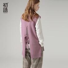 Toyouth/осенние модные свитеры с повязками на спине для женщин, пуловер с круглым вырезом и рукавами, Однотонный свитер с разрезом