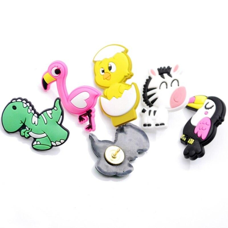 5pcs Flamingo Animal Shaped Pushpin Decorative Thumb Tack Pin Color Nails Creative Cork Push Pin Wall Stationary DIY Binding