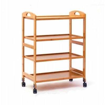 Home Kitchen Dining Car Boutique Beauty Salon  Hotel Tea Solid Wood  Three-tier Mobile Trolley