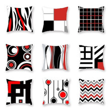 45*45cm Black And Red Geometric Cover 100% Polyester Pillow Case  Office Home Pillowcase New