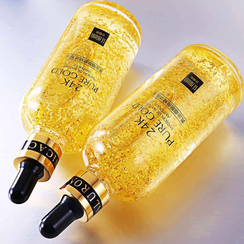 24K Gold Hyaluronic Acid Face Serum Replenishment Moisturize Shrink Pore Brighten Nicotinamide Skin Care Lift Firming Essence