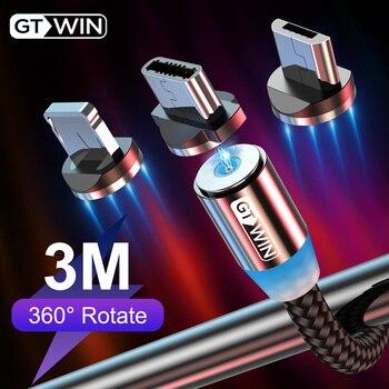 Câble magnétique GTWIN 3M câble Micro USB type C chargeur magnétique de Charge rapide câble de Charge USB magnétique pour iPhone xs 8 Samsung