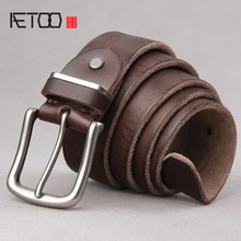 Belt male leather first layer pure leather pin buckle belt male youth Korean casual wild simple jeans belt tide