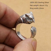 100% 925 Sterling Silver Unique Rings Women Realistic Owl Oppen for Men Fashion Jewellery Fine