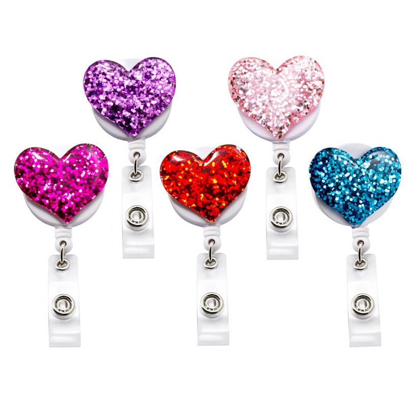 Bling Popular Love Heart Retractable Badge Holder, ID Nurse Badge Reel With Alligator Swivel Clip, 5 Pack