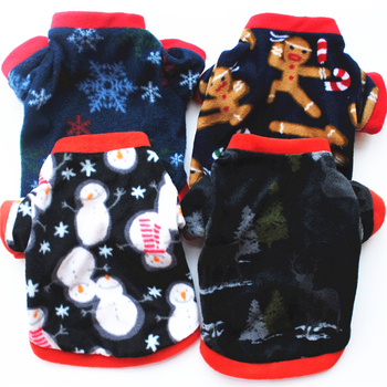 Christmas Dog Clothes Soft Velvet Pet Clothing For Small Medium Dogs Vest Shirt Cute Print New Year Coat Shirt Autumn Winter image