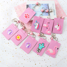 Cute Leather ID Card Holder Women Hanging Rope Business Card Case Student Lovely Unicorn Lanyard Bank Credit Badge Card Cover