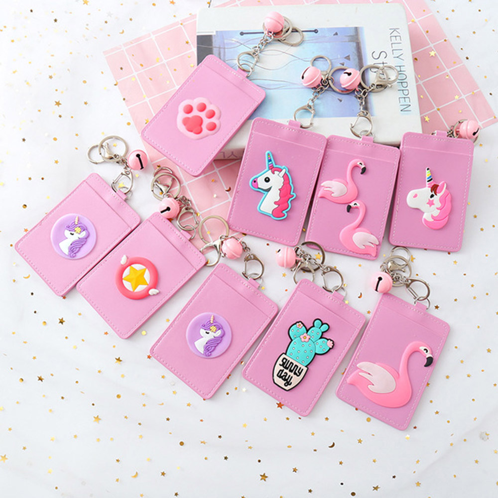 Cute Leather ID Card Holder Women Hanging Rope Business Card Case Student Lovely Unicorn Lanyard Bank Credit Badge Card Cover image