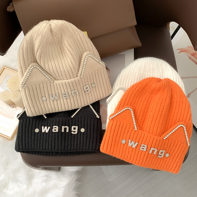 2021 New Women Beanie Hat Warm Fall Women Wool Knit Beanie Hat Cuff Beanie Watch Cap For Girls Spring Skull Rhinestone Hats