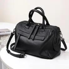 Medium capacity genuine leather travel hand pillow bag