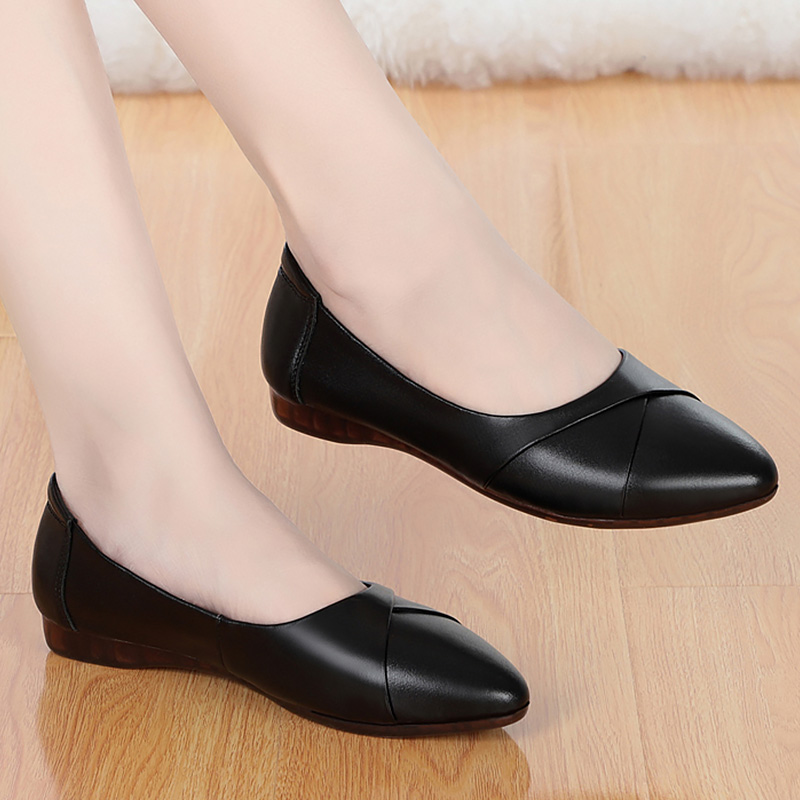 Pointed Leather Flats Women Spring Loafers Woman Flats 2020 Fashion Oxford Shoes For Women Balck Shoes