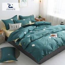Liv-Esthete Fashion Flower Dark Green Bedding Set Soft Printed Duvet Cover Pillowcase Queen King Bed Sheet Bedspread Flat